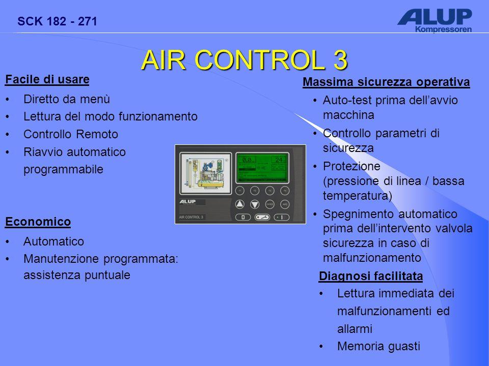 SCK 182 - 271 AIR CONTROL 3 Facile di usare Diretto da menù Lettura del modo funzionamento Controllo Remoto Riavvio automatico programmabile Economico