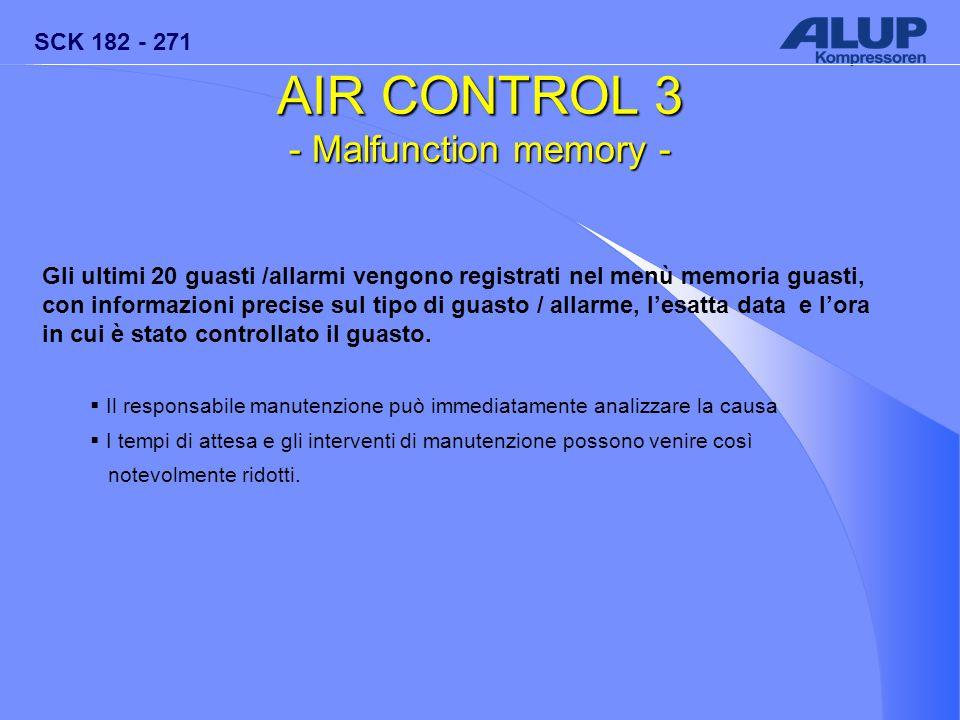SCK 182 - 271 AIR CONTROL 3 - Malfunction memory - Gli ultimi 20 guasti /allarmi vengono registrati nel menù memoria guasti, con informazioni precise