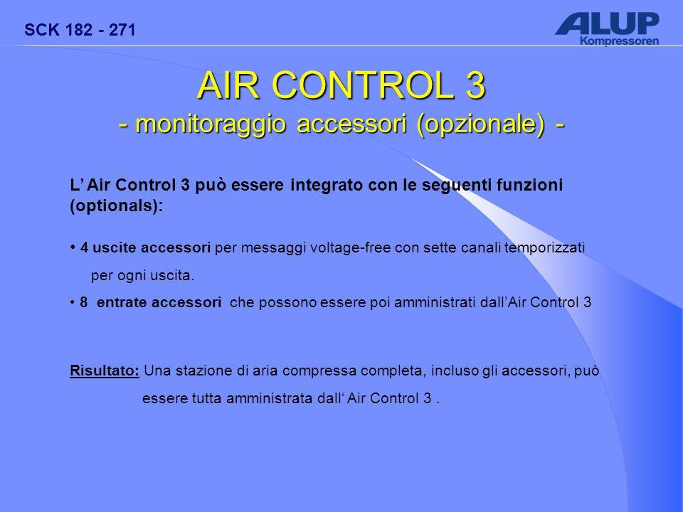 SCK 182 - 271 AIR CONTROL 3 - monitoraggio accessori (opzionale) - L' Air Control 3 può essere integrato con le seguenti funzioni (optionals): 4 uscit