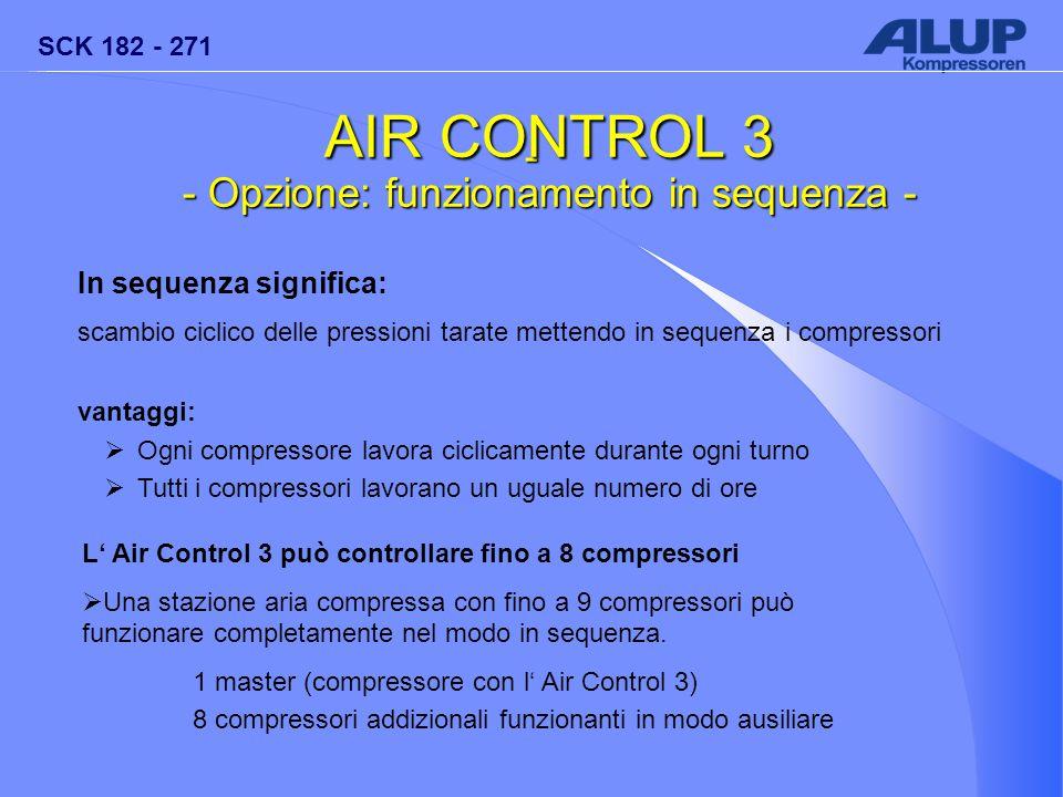 SCK 182 - 271 - AIR CONTROL 3 - Opzione: funzionamento in sequenza - In sequenza significa: scambio ciclico delle pressioni tarate mettendo in sequenz