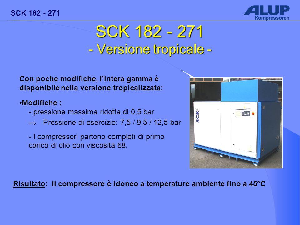 SCK 182 - 271 SCK 182 - 271 - Versione tropicale - Con poche modifiche, l'intera gamma è disponibile nella versione tropicalizzata: Modifiche : - pres
