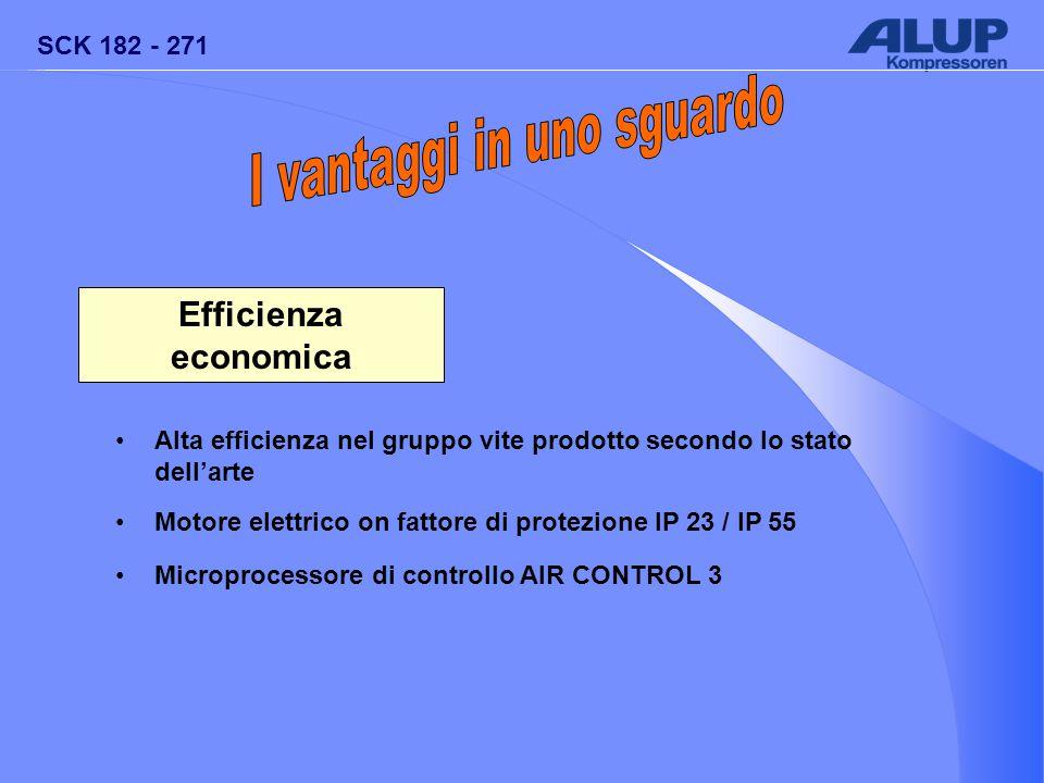 SCK 182 - 271 Efficienza economica Alta efficienza nel gruppo vite prodotto secondo lo stato dell'arte Motore elettrico on fattore di protezione IP 23