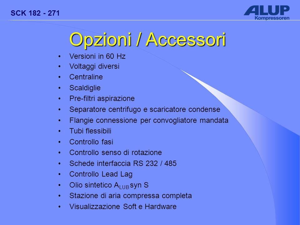 SCK 182 - 271 Opzioni / Accessori Versioni in 60 Hz Voltaggi diversi Centraline Scaldiglie Pre-filtri aspirazione Separatore centrifugo e scaricatore
