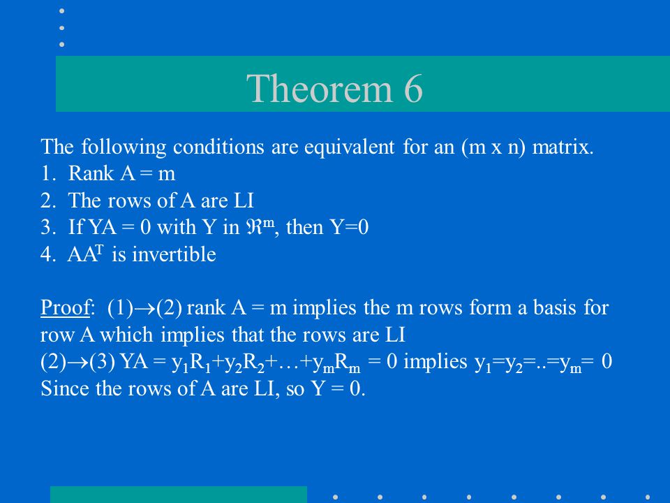 Theorem 6 The following conditions are equivalent for an (m x n) matrix.