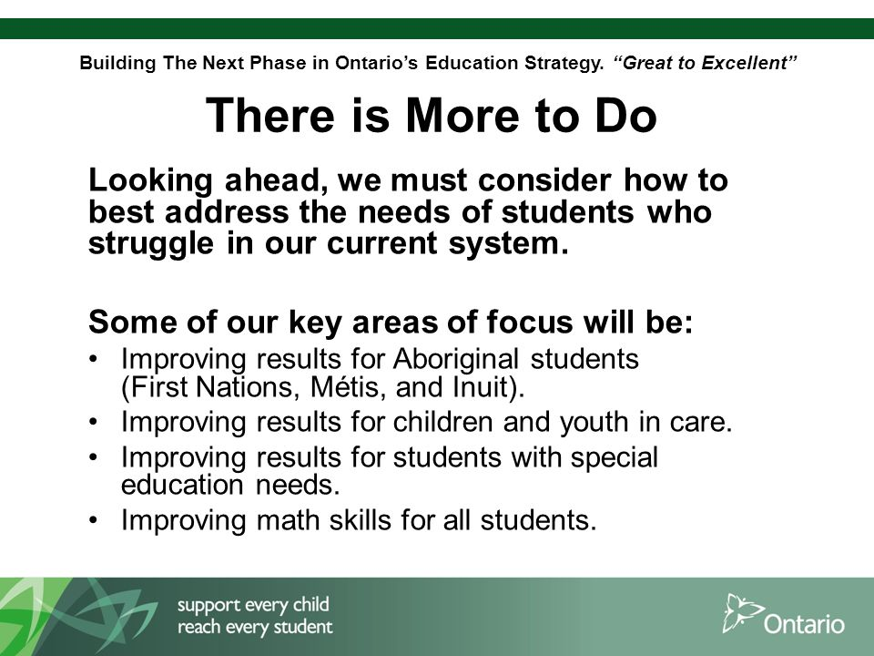 Building The Next Phase in Ontario's Education Strategy.