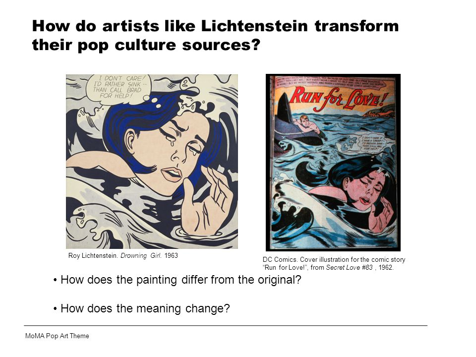 Roy Lichtenstein. Drowning Girl. 1963 How does the painting differ from the original.