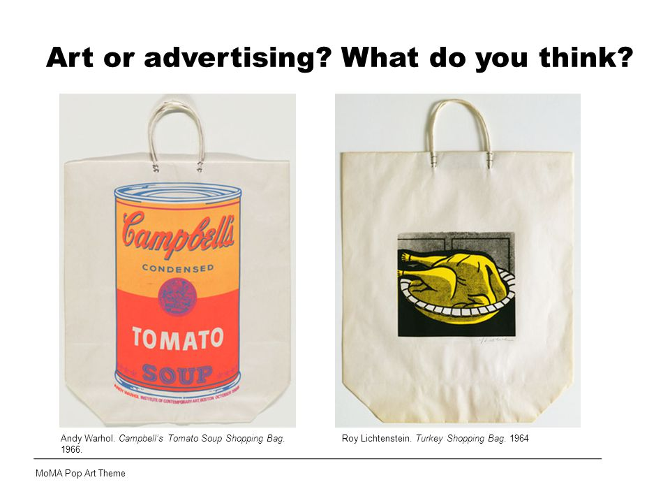 Roy Lichtenstein. Turkey Shopping Bag. 1964 Art or advertising.