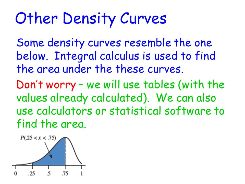 Other Density Curves Some density curves resemble the one below.