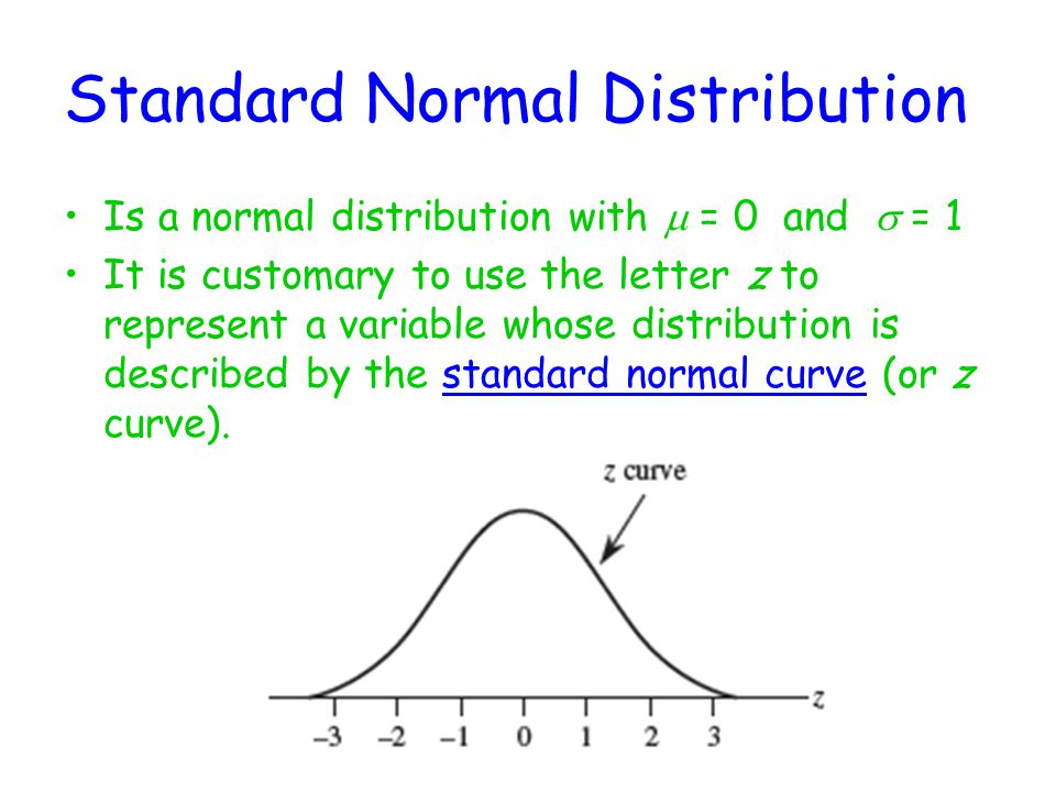 Standard Normal Distribution Is a normal distribution with  = 0 and  = 1 It is customary to use the letter z to represent a variable whose distribution is described by the standard normal curve (or z curve).