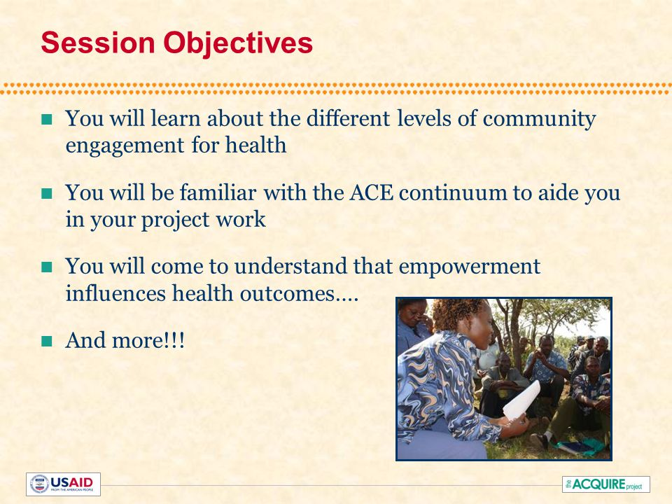 Project Lessons Learned Empowerment outcomes emerge with health outcomes Use of participatory processes and tools important