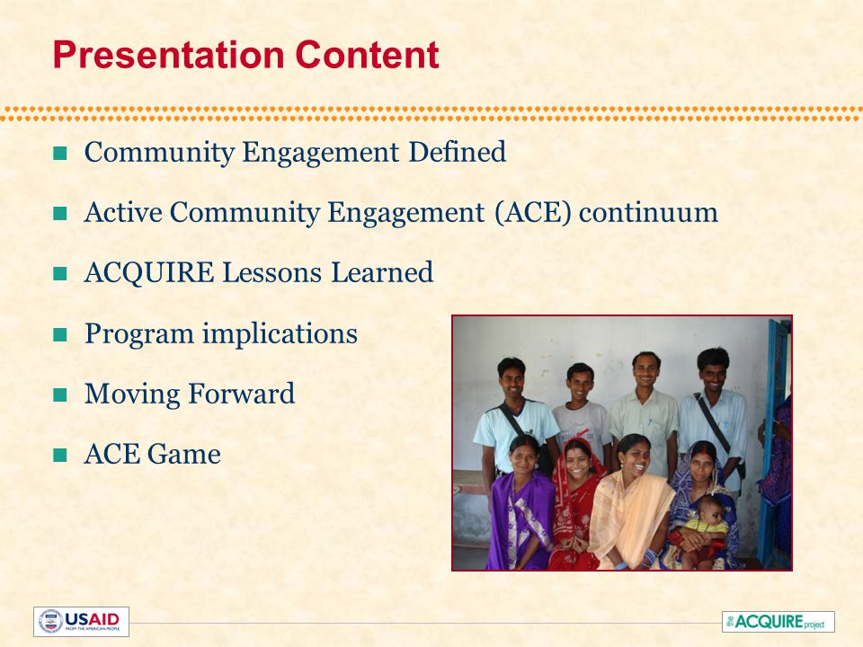 Community Engagement Defined The process of working collaboratively with groups of people who are affiliated by geographic proximity, special interests, or similar situations with respect to issues affecting their well-being. CDC, Principles of Community Engagement , 1997