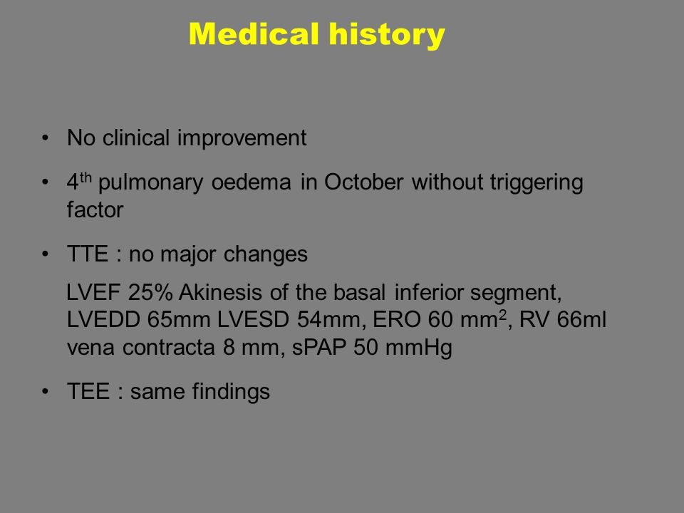 No clinical improvement 4 th pulmonary oedema in October without triggering factor TTE : no major changes LVEF 25% Akinesis of the basal inferior segm