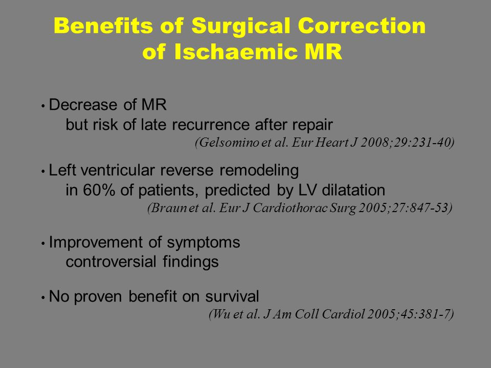 Benefits of Surgical Correction of Ischaemic MR Decrease of MR but risk of late recurrence after repair (Gelsomino et al. Eur Heart J 2008;29:231-40)