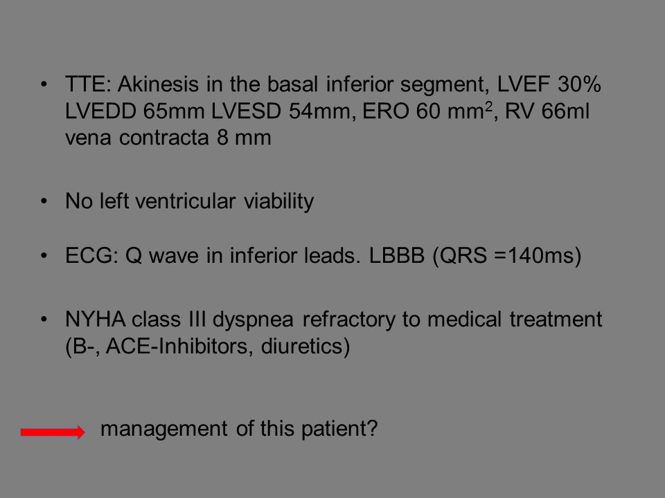 TTE: Akinesis in the basal inferior segment, LVEF 30% LVEDD 65mm LVESD 54mm, ERO 60 mm 2, RV 66ml vena contracta 8 mm No left ventricular viability ECG: Q wave in inferior leads.