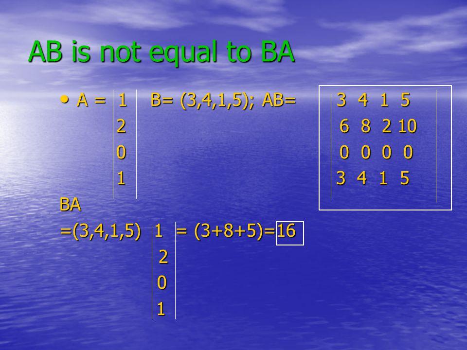 AB is not equal to BA A = 1 B= (3,4,1,5); AB= 3 4 1 5 A = 1 B= (3,4,1,5); AB= 3 4 1 5 26 8 2 10 26 8 2 10 00 0 0 0 00 0 0 0 1 3 4 1 5 1 3 4 1 5BA =(3,4,1,5) 1 = (3+8+5)=16 2 0 1