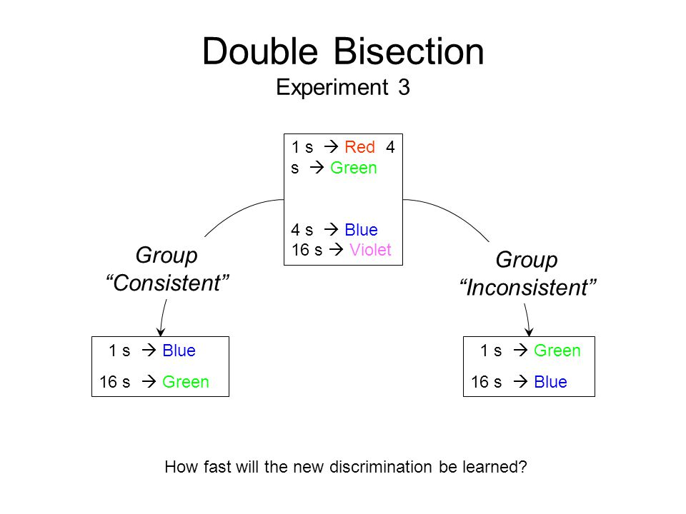 Double Bisection Experiment 3 1 s  Red 4 s  Green 4 s  Blue 16 s  Violet 1 s  Green 16 s  Blue 1 s  Blue 16 s  Green Group Consistent Group Inconsistent How fast will the new discrimination be learned?