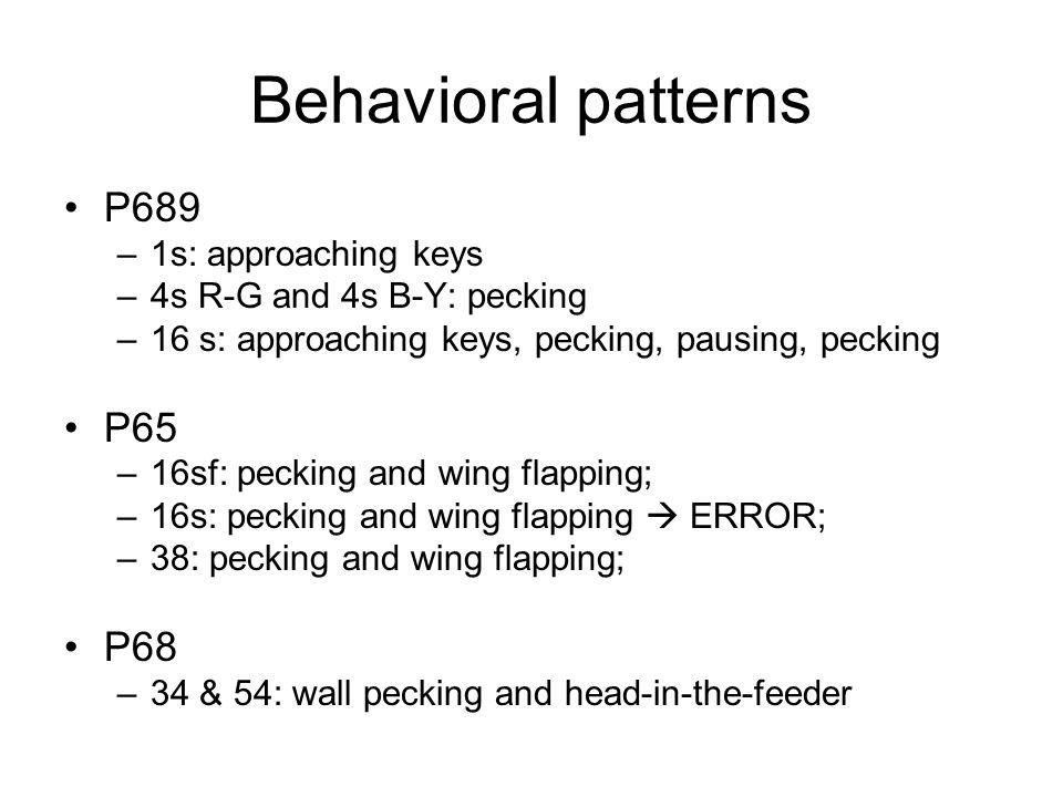 Behavioral patterns P689 –1s: approaching keys –4s R-G and 4s B-Y: pecking –16 s: approaching keys, pecking, pausing, pecking P65 –16sf: pecking and w