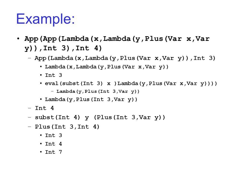 Example: App(App(Lambda(x,Lambda(y,Plus(Var x,Var y)),Int 3),Int 4) –App(Lambda(x,Lambda(y,Plus(Var x,Var y)),Int 3) Lambda(x,Lambda(y,Plus(Var x,Var y)) Int 3 eval(subst(Int 3) x )Lambda(y,Plus(Var x,Var y)))) –Lambda(y,Plus(Int 3,Var y)) Lambda(y,Plus(Int 3,Var y)) –Int 4 –subst(Int 4) y (Plus(Int 3,Var y)) –Plus(Int 3,Int 4) Int 3 Int 4 Int 7