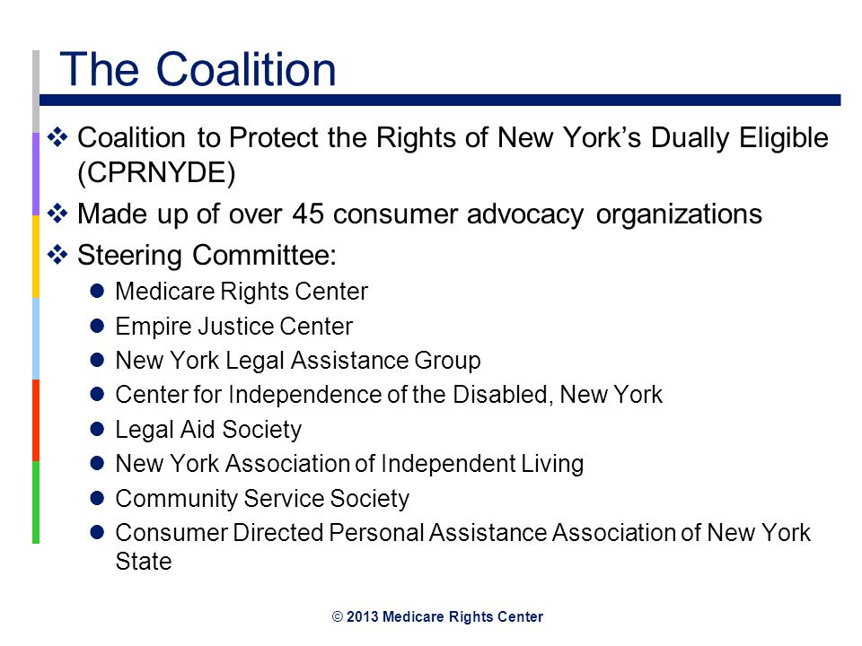 © 2013 Medicare Rights Center The Coalition  Coalition to Protect the Rights of New York's Dually Eligible (CPRNYDE)  Made up of over 45 consumer advocacy organizations  Steering Committee: Medicare Rights Center Empire Justice Center New York Legal Assistance Group Center for Independence of the Disabled, New York Legal Aid Society New York Association of Independent Living Community Service Society Consumer Directed Personal Assistance Association of New York State
