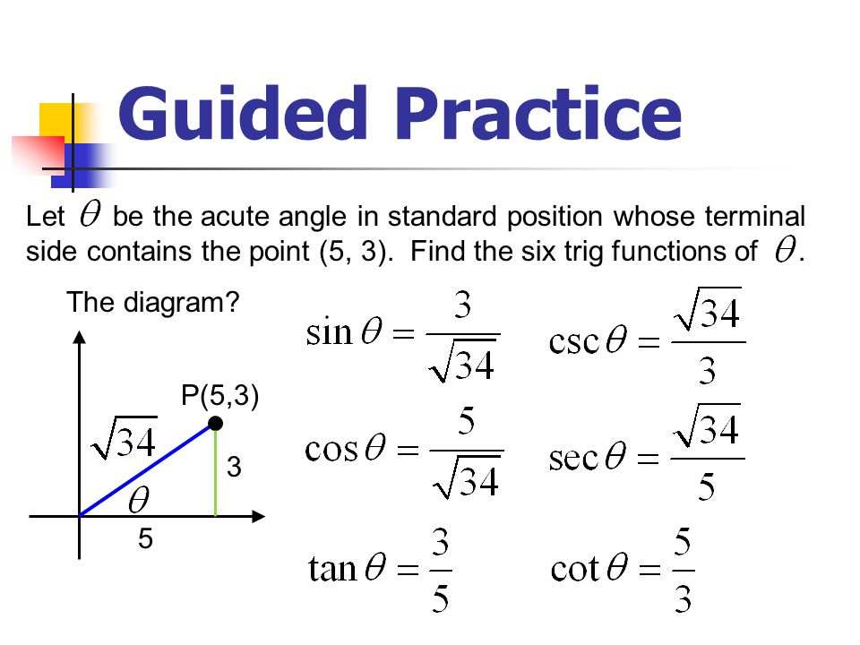 Guided Practice Let be any angle in standard position whose terminal side contains the point (–5, 3).