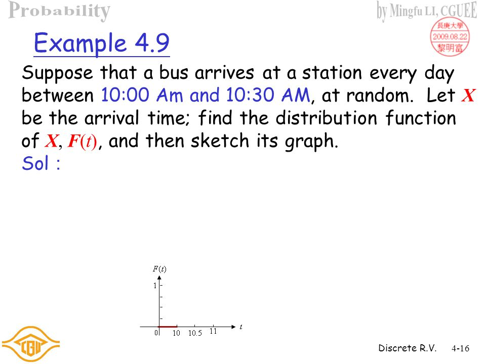 Discrete R.V.4-15 Example 4.8 For the experiment of flipping a fair coin twice, let X be the number of tails and calculate F(t), the distribution func