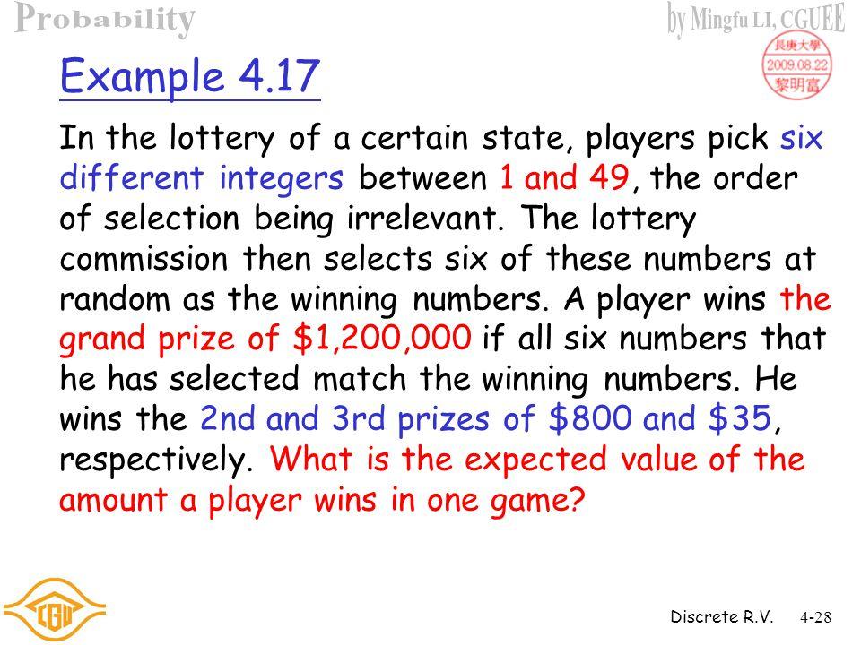 Discrete R.V.4-27 Example 4.16 (Cont'd) Sol :