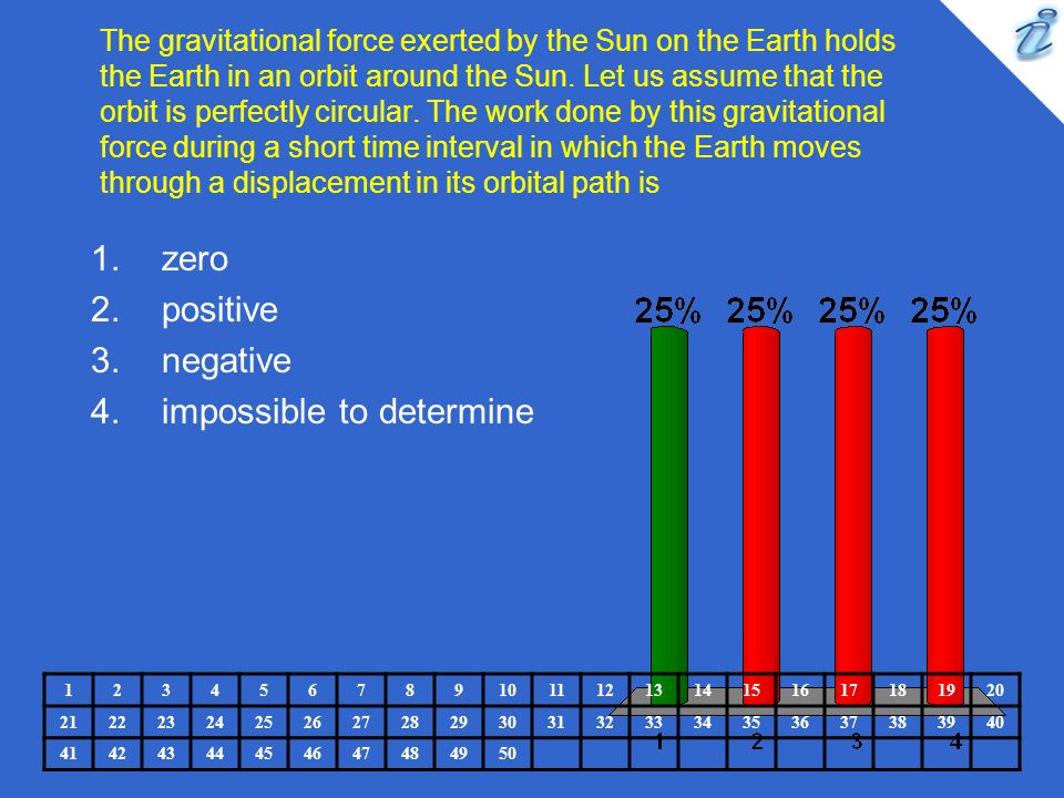 The gravitational force exerted by the Sun on the Earth holds the Earth in an orbit around the Sun. Let us assume that the orbit is perfectly circular