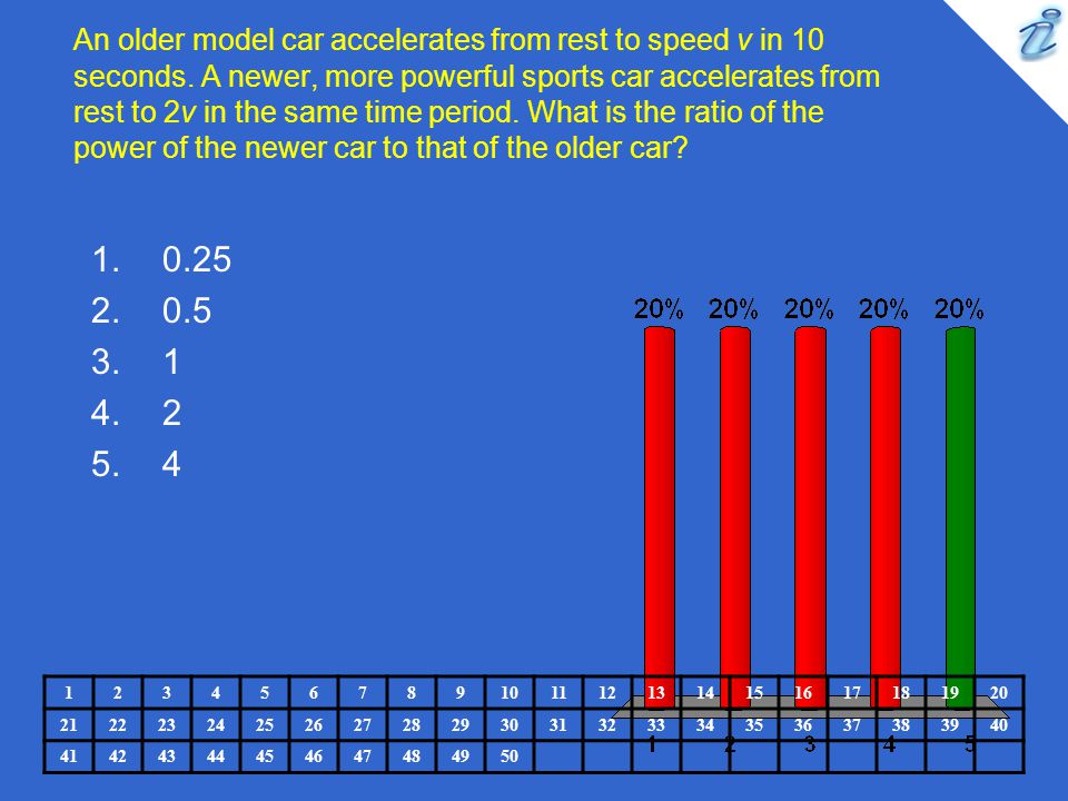 An older model car accelerates from rest to speed v in 10 seconds. A newer, more powerful sports car accelerates from rest to 2v in the same time peri