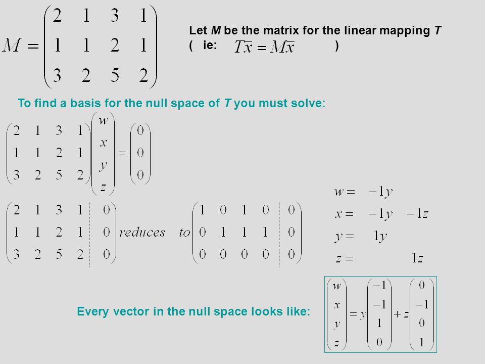 Let M be the matrix for the linear mapping T ( ie: ) To find a basis for the null space of T you must solve: Every vector in the null space looks like