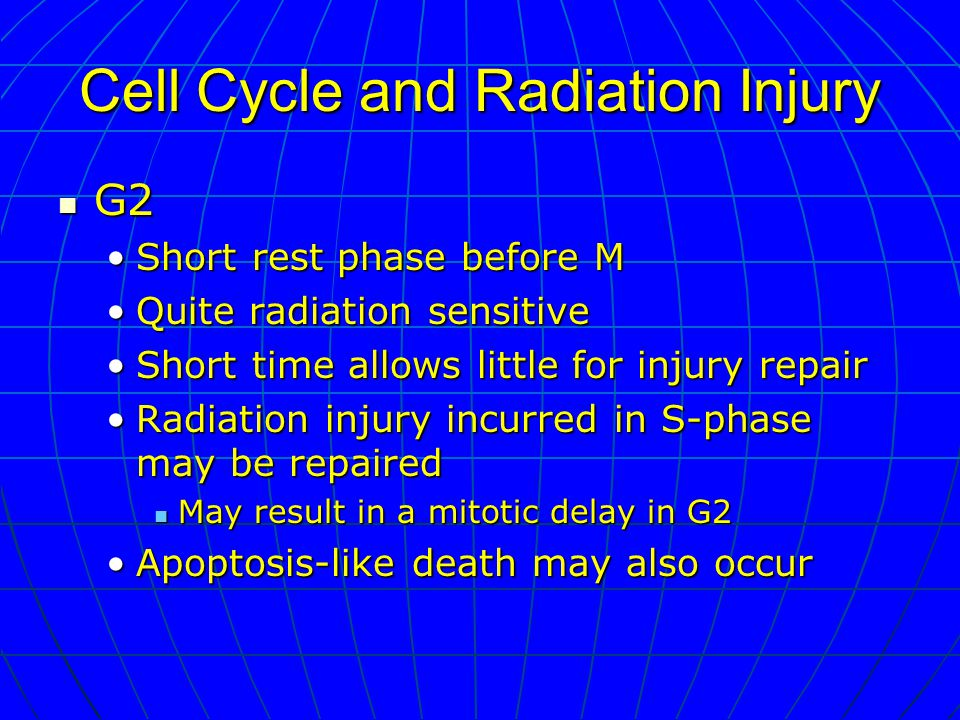 Cell Cycle and Radiation Injury G2 G2 Short rest phase before MShort rest phase before M Quite radiation sensitiveQuite radiation sensitive Short time allows little for injury repairShort time allows little for injury repair Radiation injury incurred in S-phase may be repairedRadiation injury incurred in S-phase may be repaired May result in a mitotic delay in G2 May result in a mitotic delay in G2 Apoptosis-like death may also occurApoptosis-like death may also occur
