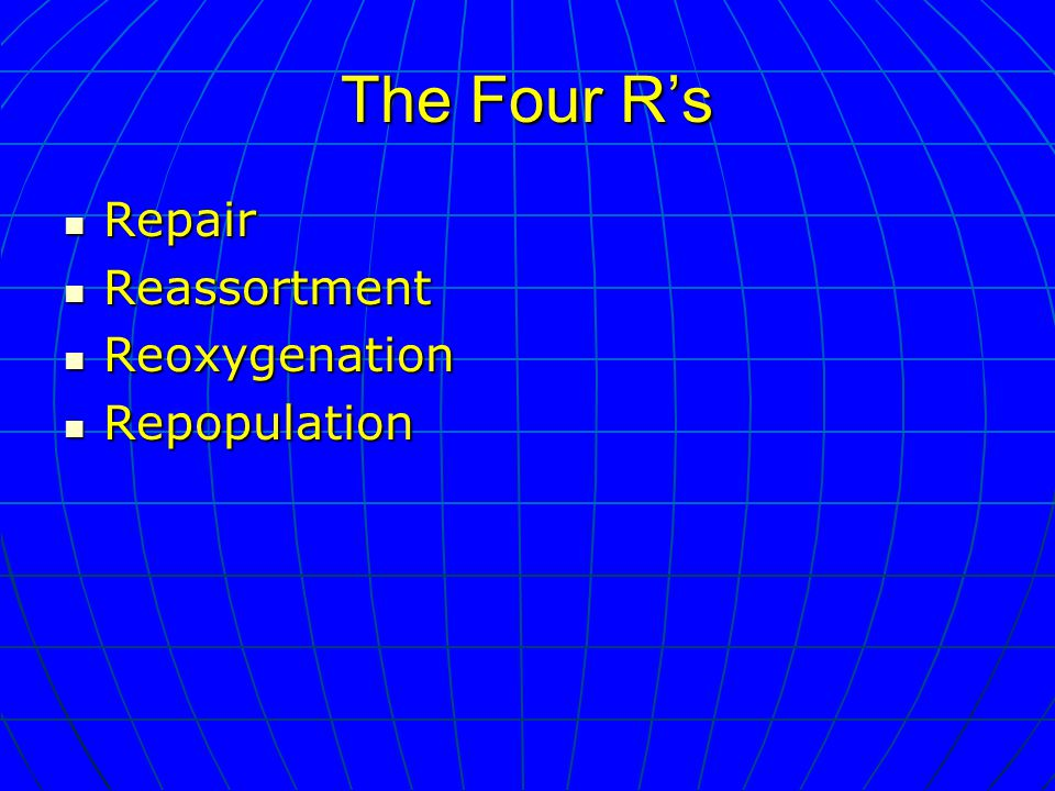 The Four R's Repair Repair Reassortment Reassortment Reoxygenation Reoxygenation Repopulation Repopulation
