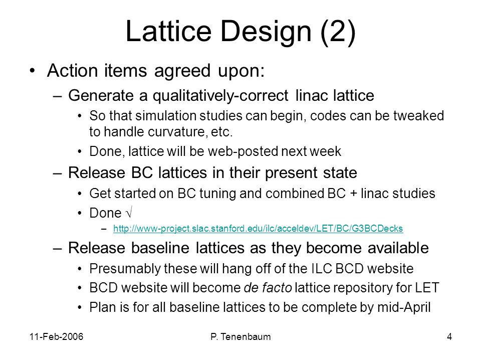 11-Feb-2006P.Tenenbaum5 Lattice Design (3) Who will do the lattice designs for the baseline.