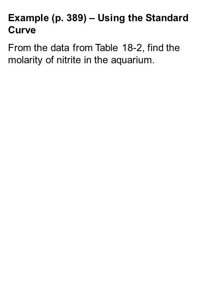 Example (p. 389) – Using the Standard Curve From the data from Table 18-2, find the molarity of nitrite in the aquarium.