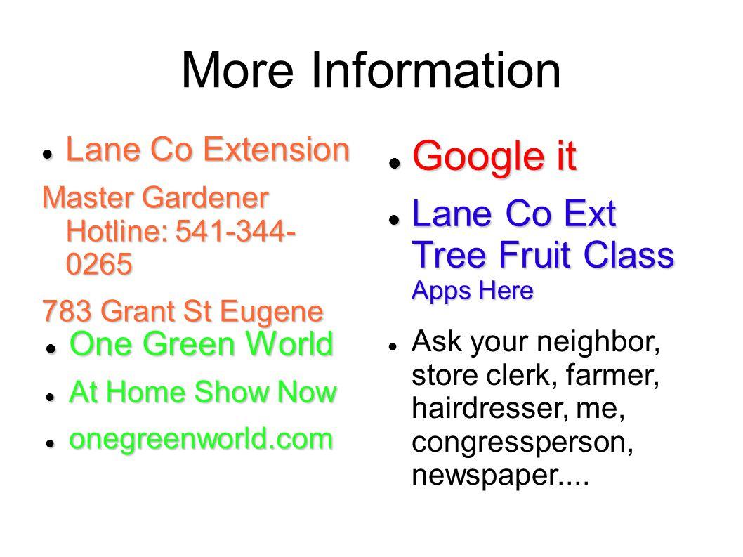 More Information Lane Co Extension Lane Co Extension Master Gardener Hotline: 541-344- 0265 783 Grant St Eugene Google it Google it Lane Co Ext Tree F