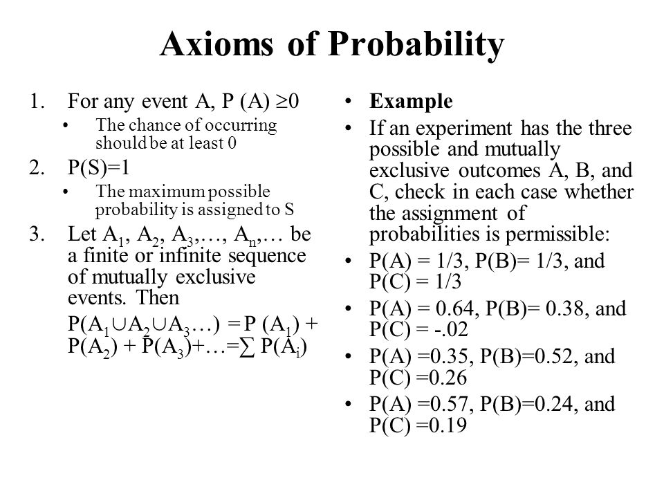 Axioms of Probability 1.For any event A, P (A)  0 The chance of occurring should be at least 0 2.P(S)=1 The maximum possible probability is assigned