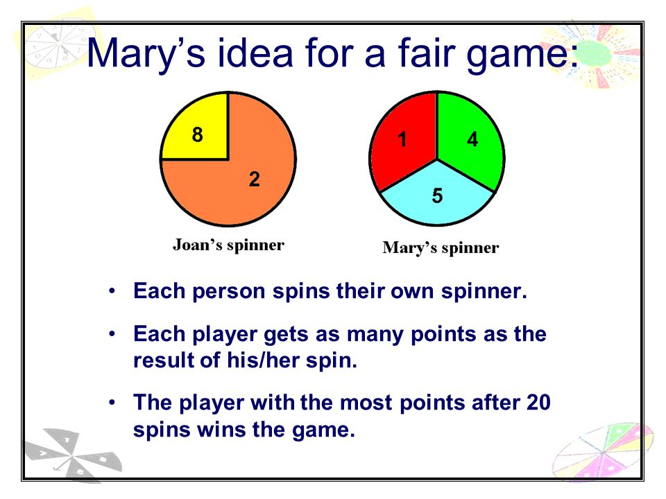 Mary's idea for a fair game: Each person spins their own spinner.