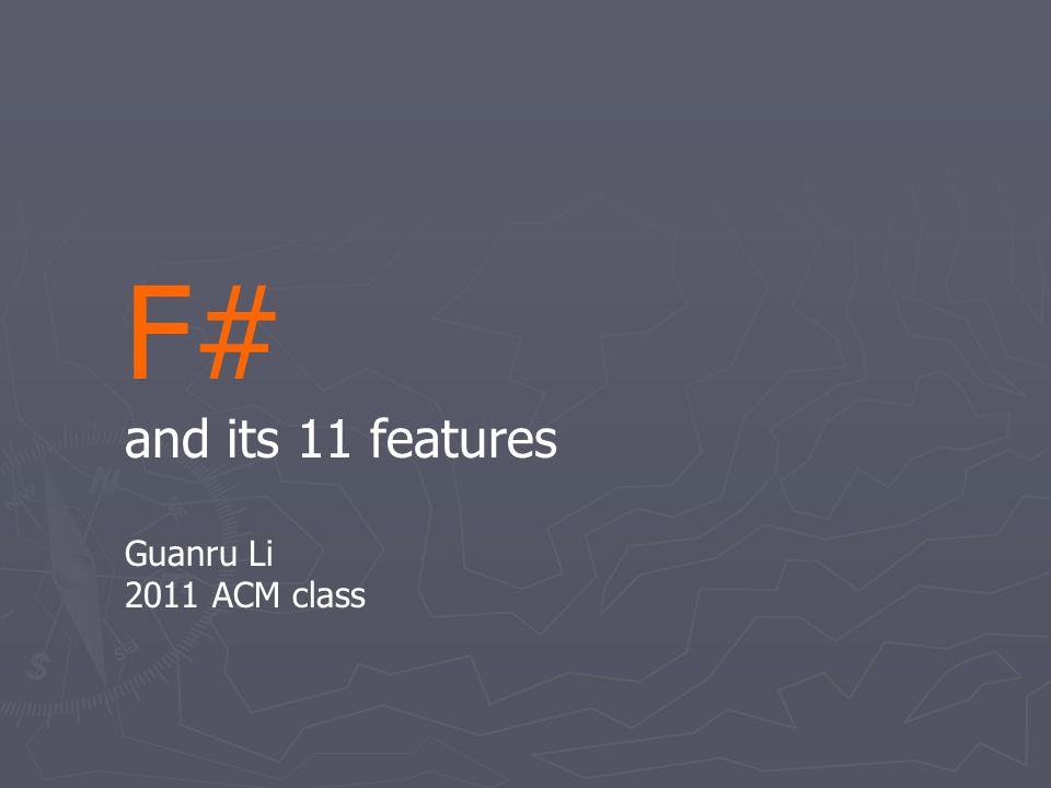 Feature 1 of 11 ► Functional programming let f (g: int -> int) y = g y let increment x = x + 1 let a = f increment 100 ► Lambda expression let f (g: int -> int) y = g y let a = f (fun x -> x + 1) 100
