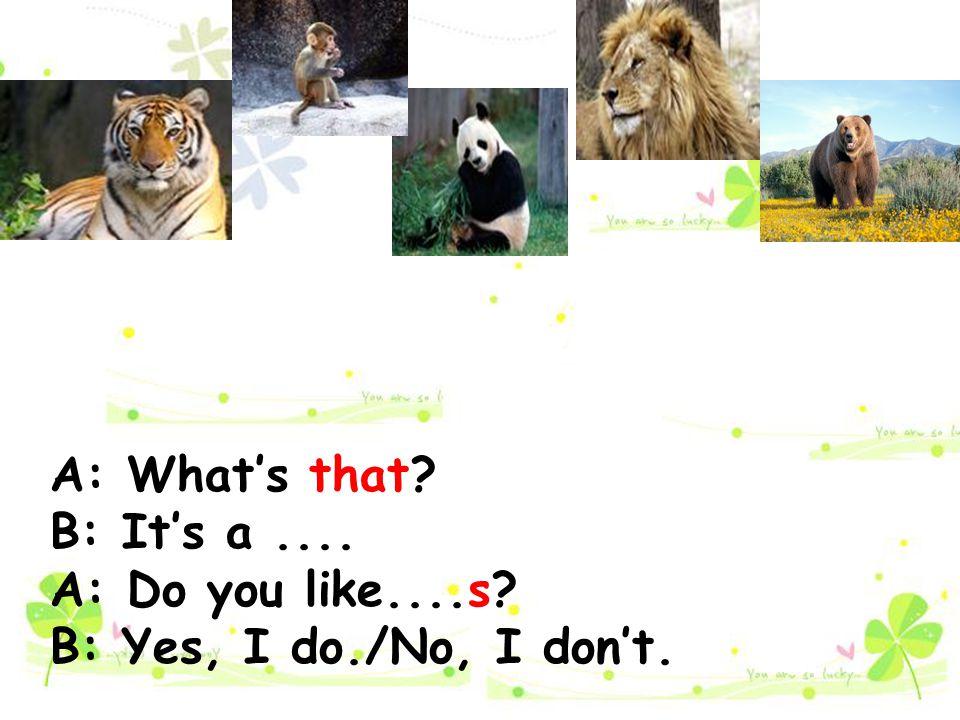 A: What's that? B: It's a.... A: Do you like....s? B: Yes, I do./No, I don't.