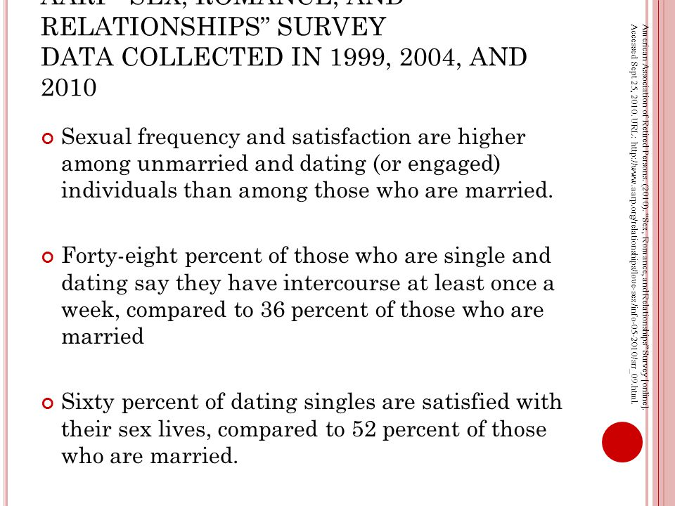AARP SEX, ROMANCE, AND RELATIONSHIPS SURVEY DATA COLLECTED IN 1999, 2004, AND 2010 Sexual frequency and satisfaction are higher among unmarried and dating (or engaged) individuals than among those who are married.