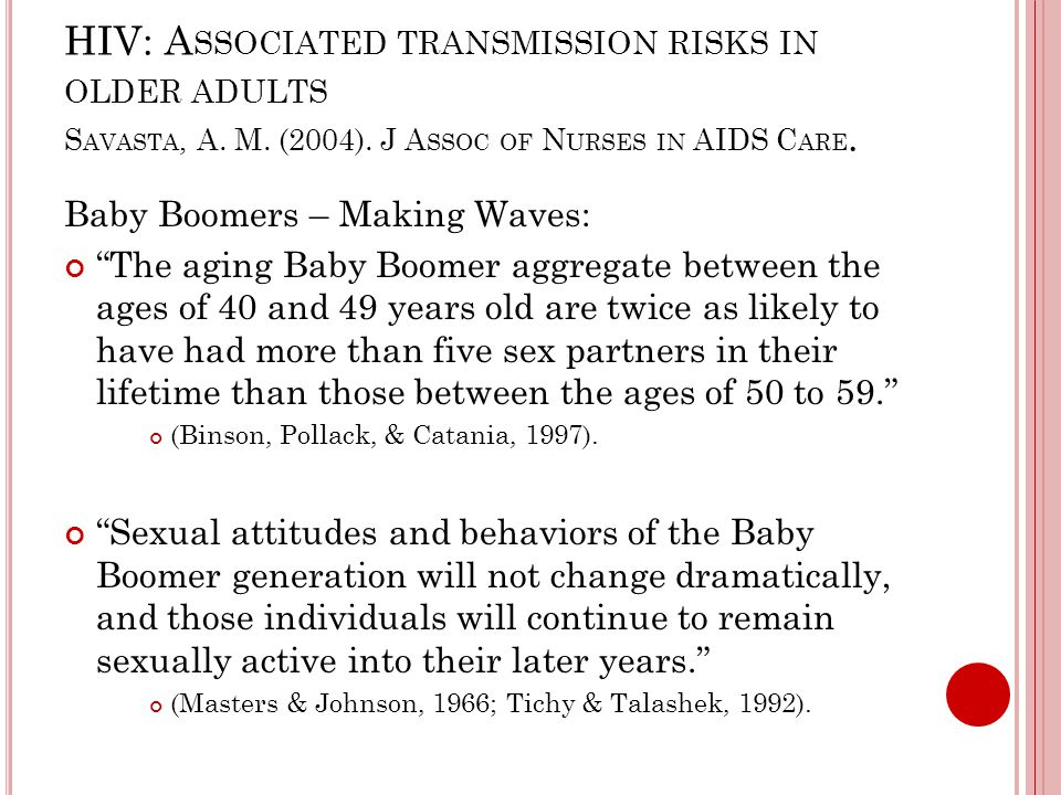 HIV: A SSOCIATED TRANSMISSION RISKS IN OLDER ADULTS S AVASTA, A.