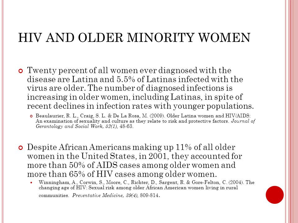 HIV AND OLDER MINORITY WOMEN Twenty percent of all women ever diagnosed with the disease are Latina and 5.5% of Latinas infected with the virus are older.
