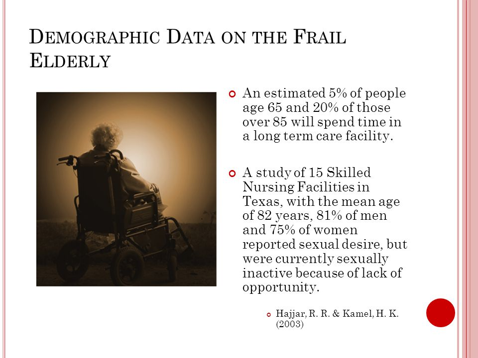 D EMOGRAPHIC D ATA ON THE F RAIL E LDERLY An estimated 5% of people age 65 and 20% of those over 85 will spend time in a long term care facility.