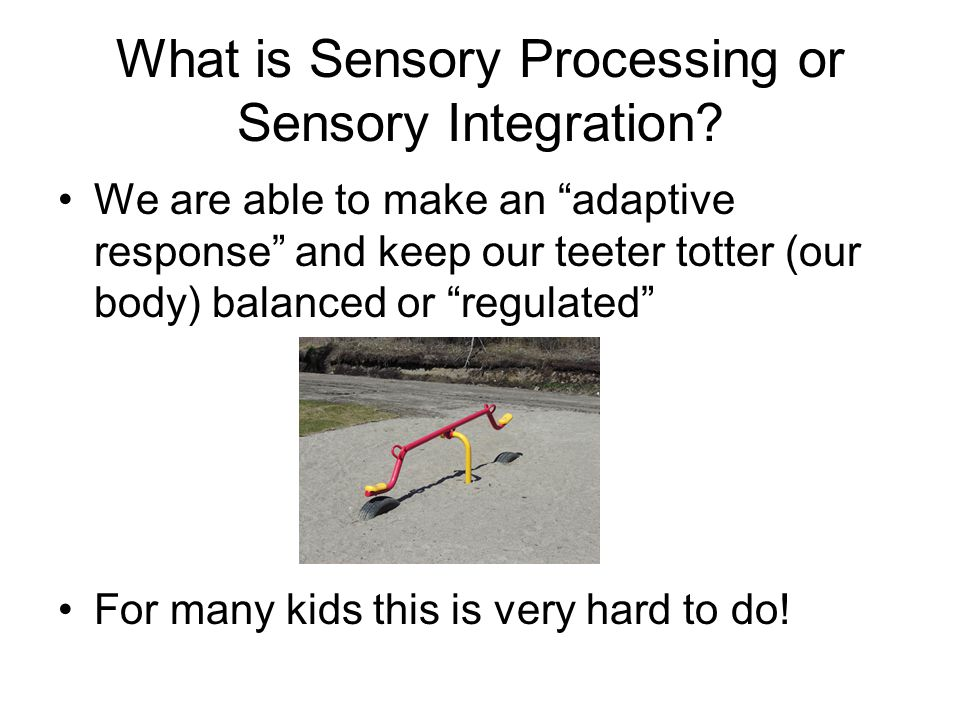 "What is Sensory Processing or Sensory Integration? We are able to make an ""adaptive response"" and keep our teeter totter (our body) balanced or ""regul"