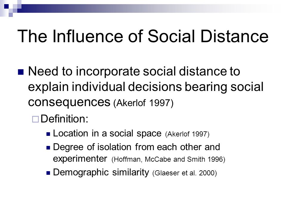 Social Distance Hypothesis Although decreases in trust and trustworthiness are expected as social distance increases for both American and Chinese participants, the drop in levels of trust and trustworthiness among Chinese participants between family and non- family members will be significantly greater than the drop in trust and trustworthiness among American participants.