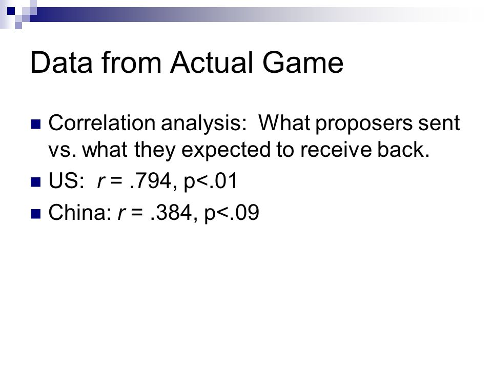 Data from Actual Game Correlation analysis: What proposers sent vs. what they expected to receive back. US: r =.794, p<.01 China: r =.384, p<.09