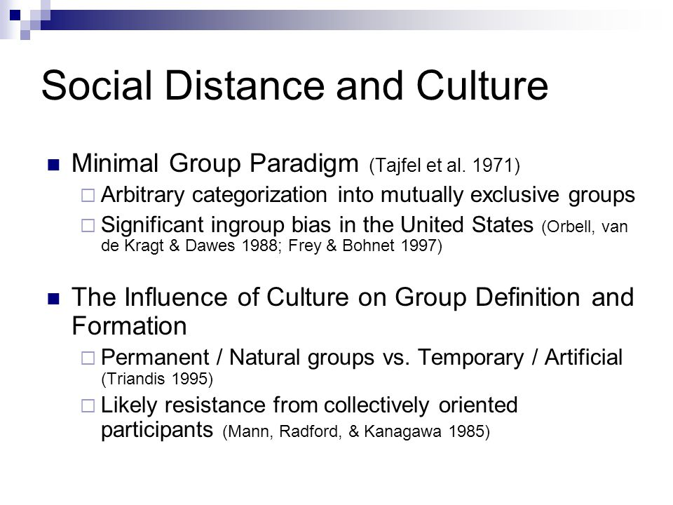 Social Distance and Culture Hypothesis (tested at the aggregate and individual levels):  Countries (US) / Individuals with relatively more individualist orientation will display an ingroup bias.
