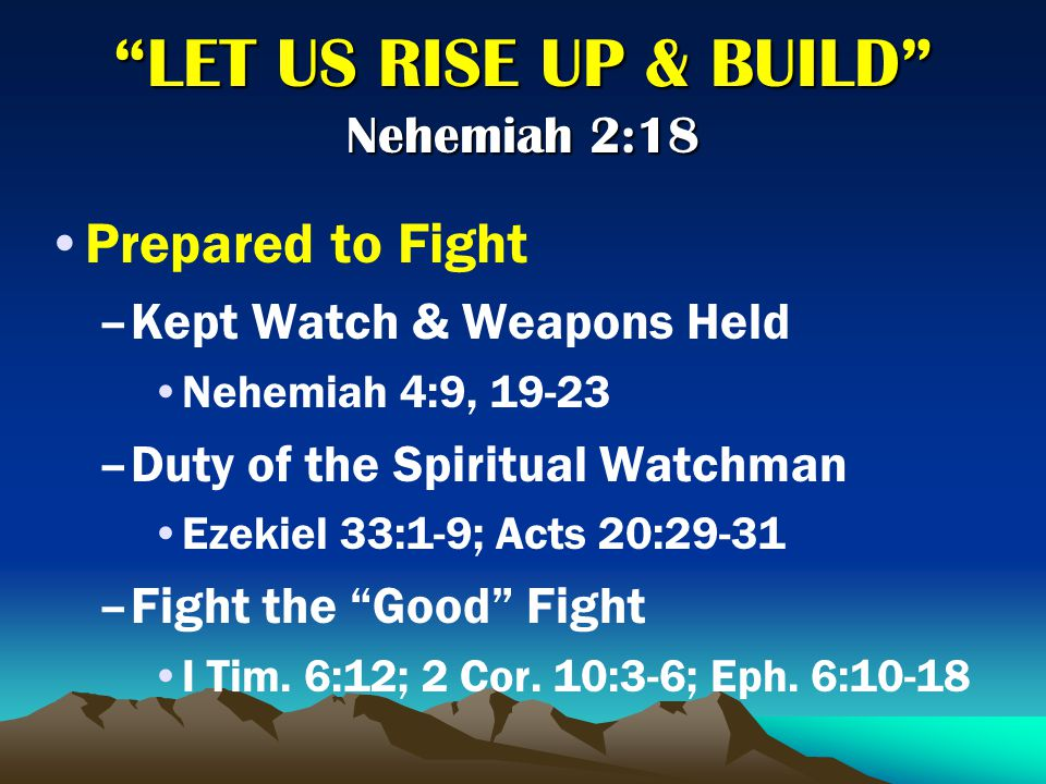 Prayed and Trusted in God –N–Nehemiah's Prayers to God 1:4-11; 2:4; 4:4-5, 9; 6:9 I Thessalonians 5:17; Philippians 4:6 –N–Nehemiah's Trust in God 2:20; 4:9, 20 2 Corinthians 1:8-11