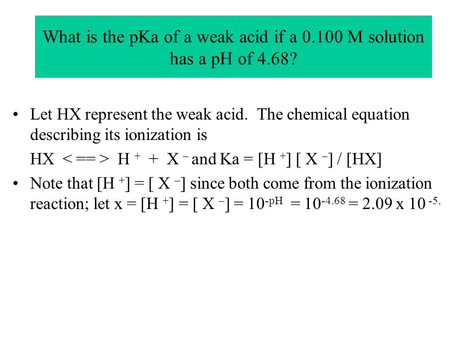 What is the pKa of a weak acid if a 0.100 M solution has a pH of 4.68? Let HX represent the weak acid. The chemical equation describing its ionization