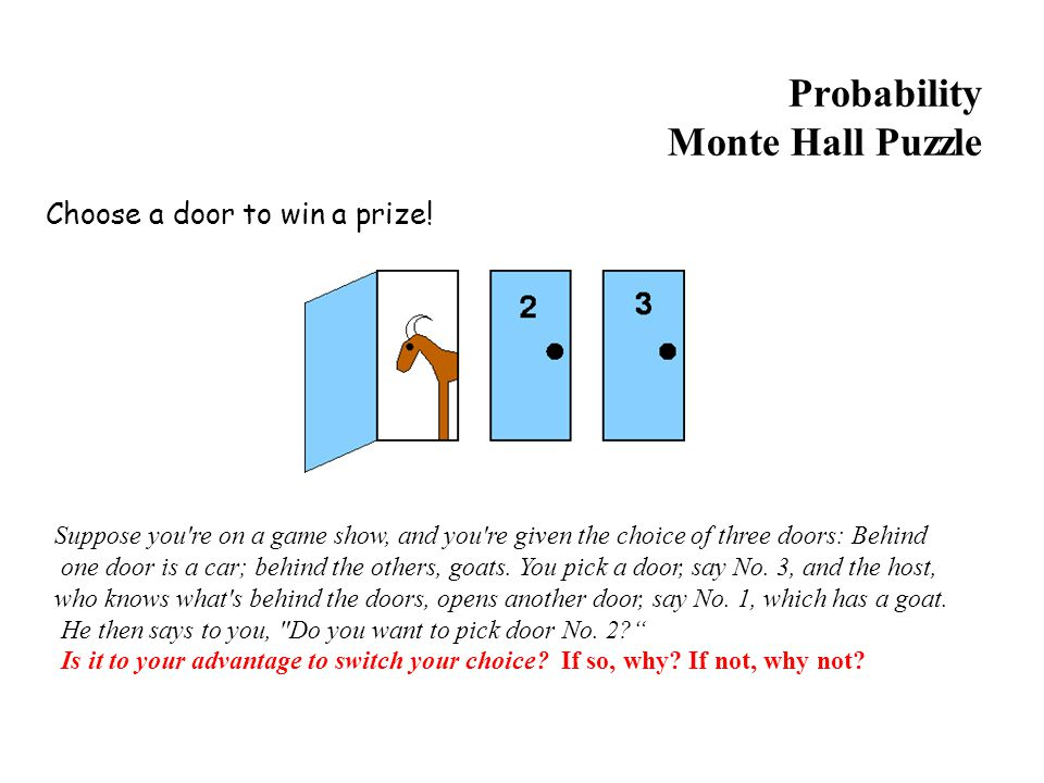 Probability Monte Hall Puzzle Choose a door to win a prize.