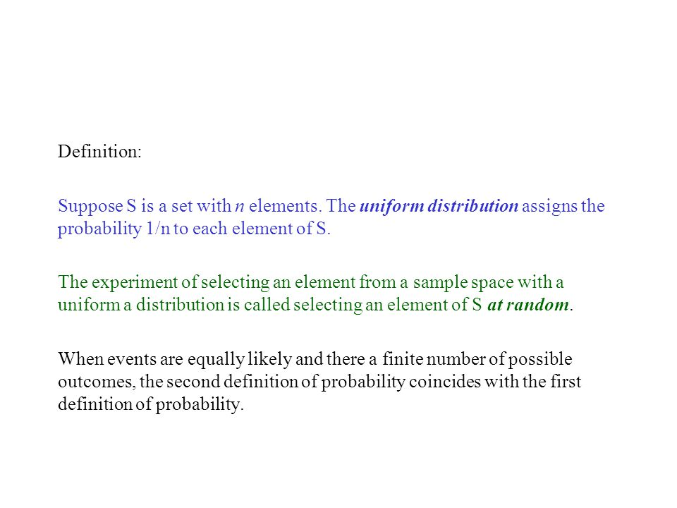 Definition: Suppose S is a set with n elements.